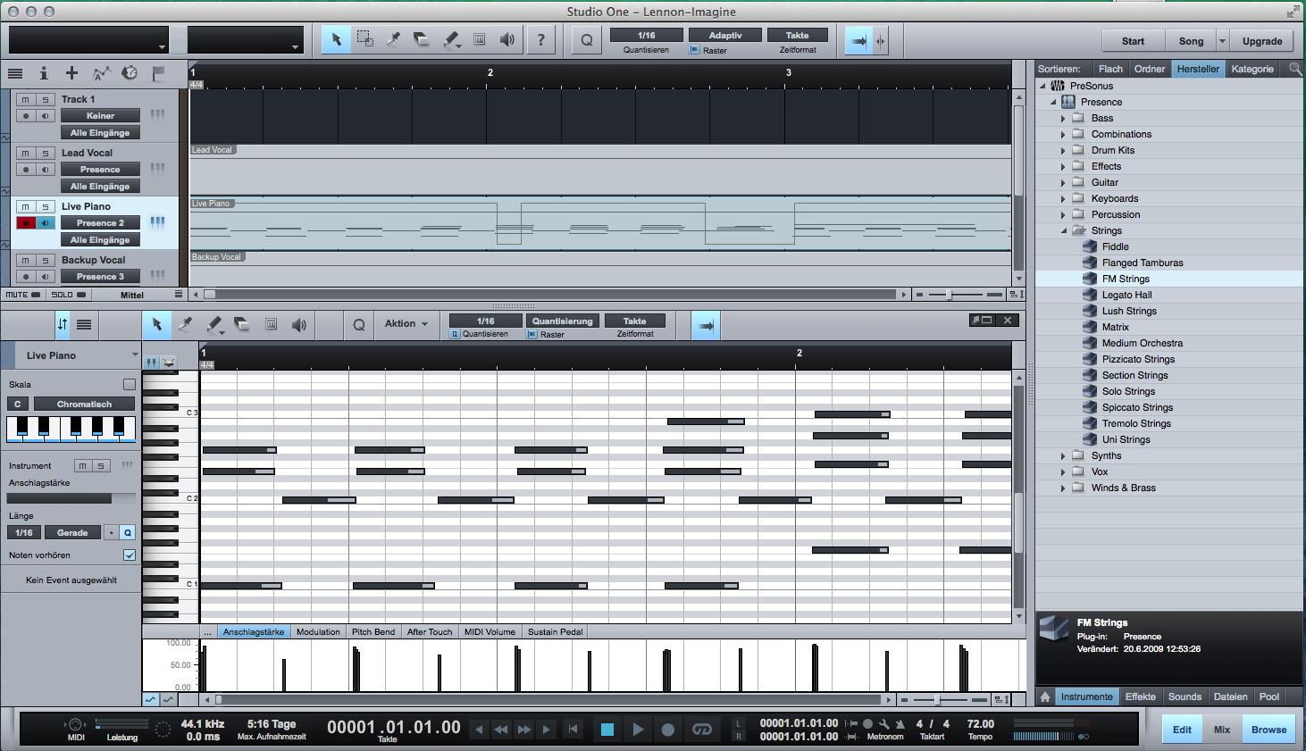 Erste Schritte mit Presonus Studio One Free