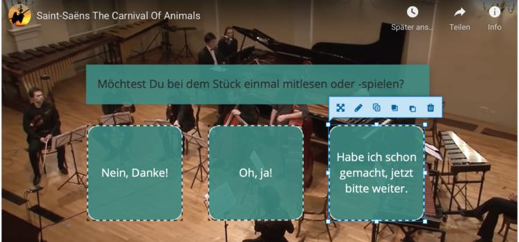 """Interaktives Video """"Karneval der Tiere"""" mit H5P"""